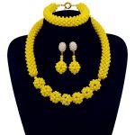 Amazing Yellow African Beads <b>Jewelry</b> Set Beads Necklace Set Nigerian <b>Wedding</b> African Beaded Crystal BeadsHandmade Ball <b>Jewelry</b>