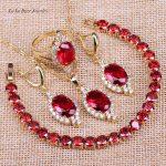 L&B Luxurious EYE Wedding <b>Jewelry</b> Sets Gold Color <b>Jewelry</b> Sets Red Created Garnet Bracelet Pendant <b>Necklace</b> Earrings Rings