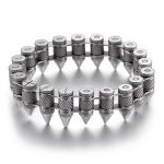 Hot Sale Fashion Cool Men Punk Bike <b>Silver</b> Stainless Steel Motorcycle Bicycle Bike Chain Bullet <b>Bracelets</b> Jewelry
