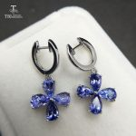 TBJ,Natural 3ct up good color tanzanite flower gemstone clasp <b>earring</b> in 925 sterling <b>silver</b> fine jewelry for girls best gift