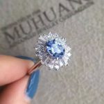 Natural blue sapphire gem Ring Natural gemstone ring 925 sterling <b>silver</b> trendy Elegant flower sunflower women party <b>Jewelry</b>