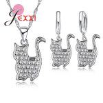 Giemi 925 Sterling <b>Silver</b> CZ Crystal Jewelry Sets Beautiful Chain Pretty Persian Cat Pendants <b>Necklace</b> Earrings Lovers Gift
