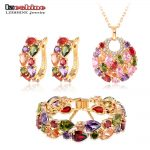 LZESHINE New 2016 Christmas Multicolor Zircon Women Bridal <b>Jewelry</b> Set Gold Color Earring Stud/Necklace/Bracelet <b>Wedding</b> <b>Jewelry</b>