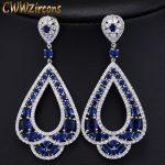 CWWZircons Elegant CZ Bridal <b>Jewelry</b> Luxury Long Drop Cubic Zirconia Big Royal Blue <b>Wedding</b> Earrings For Brides CZ197