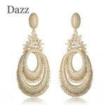 Dazz New Arrival Gold Color Circles Drop Earrings Full Rhinestones <b>Wedding</b> <b>Jewelry</b> Women Girls Copper Ear Piercings Accessories