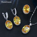 ThreeGraces 7 Color Options Yellow Cubic Zirconia Crystal <b>Fashion</b> Women 925 Sterling Silver Necklace Earrings <b>Jewelry</b> Set JS198
