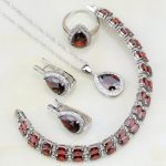 Classic 925 Sterling Silver <b>Jewelry</b> Red Stones White Zircon <b>Jewelry</b> Sets For Women Wedding Earrings/Pendant/<b>Necklace</b>/Bracelet