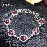 Fashion 925 <b>silver</b> ruby bracelet for woman 6 pieces natural ruby <b>silver</b> bracelet <b>sterling</b> <b>silver</b> ruby <b>jewelry</b> birthday girl gift