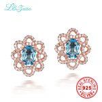 l&zuan 925 Sterling <b>Silver</b> 1.475ct Natural Topaz Blue Stone Elegant Stud <b>Earring</b> For Woman fine jewelry <b>earrings</b>
