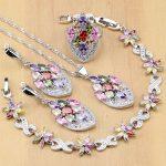 Flower Multicolor Zircon Beads 925 <b>Silver</b> Jewelry Sets For Women Wedding Earrings/Pendant/Ring/<b>Bracelet</b>/Necklace Set
