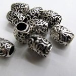 high quality 100pcs 10x12mm 100pcs vitiage Bail filigree finding metal <b>silver</b> plated barrel <b>earring</b> jewelry finding beaded
