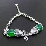 FNJ Pixiu Charm <b>Bracelet</b> 925 <b>Silver</b> Yellow Green Chalcedony Red Zircon Stone 16.3cm +4.7cm Chain S925 <b>Silver</b> <b>Bracelets</b> for Women