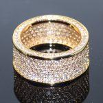 <b>Handmade</b> Sparkling Luxury <b>Jewelry</b> 10KT Yellow Gold Filled Pave Full White 5A Cubic Zirconia Circle Women Wedding Band Ring Gift