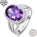 J.C Women/Men Fine <b>Jewelry</b> 10.2ct Amethyst & Rainbow Topaz Wedding <b>Jewelry</b> Gift Solid 925 Sterling <b>Silver</b> Ring Size 6 7 8 9