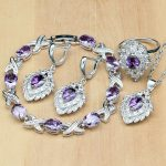 Strawberry Shaped 925 Silver <b>Jewelry</b> Purple CZ White Crystal <b>Jewelry</b> Sets For Women Earrings/Pendant/Rings/Bracelet/<b>Necklace</b> Set
