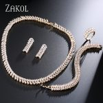 ZAKOL Top Quality Gold-color Cubic Zircon Plant <b>Jewelry</b> Set for Women Dinner Dess <b>Jewelry</b> FSSP289