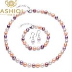 ASHIQI Pearl Jewelry sets 7-8MM Multi Rice Natural Freshwater Pearl Necklace Bracelet <b>Earrings</b> 925 sterling <b>silver</b> jewelry