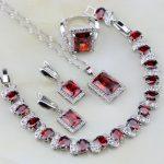 Square Shaped Red Garnet Zircon White Cubic Zirconia 925 <b>Silver</b> Jewelry Sets For Women Earrings/Pendant/Necklace/<b>Bracelet</b>/Ring