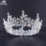 Women Hair Accessories <b>Wedding</b> Full Round Tiara Crowns Pearl Flower Bride Hair <b>Jewelry</b> Rhinestone Gold/Silver Finish Big Crown