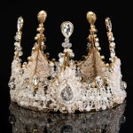 Idealway Luxury <b>Jewelry</b> Rhinestone Queen Crown Tiaras Princess Crown Headdress Wedding Bridal Gold Tiara Crown Hair Accessories