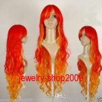100%Free shipping New High Quality <b>Fashion</b> Picture Indian Mongolian wigs>>New cosplay party Pretty red orange mix curly Wig
