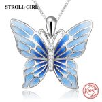 2018 Aliexpress silver 925 lovely butterfly chain pendant&necklace with blue enamel diy European fashion <b>jewelry</b> <b>making</b> gifts