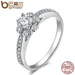 BAMOER Authentic 925 Sterling Silver Sparkling Blooming Flower Finger Rings for Women Wedding Engagement <b>Jewelry</b> Gift SCR083