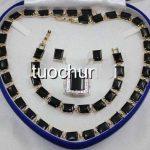 very good women's Wonderful Black Obsidian Gem Inlay Necklace <b>Bracelet</b> Earring Ring Jewelry Set <b>silver</b> wholesale Quartz stone cr