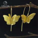 Lotus Fun Real 925 <b>Sterling</b> <b>Silver</b> Natural Creative Handmade Fine <b>Jewelry</b> Gorgeous 3D Butterfly Drop Earrings for Women Brincos