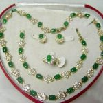Women's Wedding Beautiful Popular <b>jewelry</b> Green gem stone Necklace Bracelet Ring Earring Set silver mujer moda