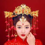 New Luxury Chinese <b>Wedding</b> Brides Hair Accessories <b>Jewelry</b> Flower Tassel Red Rhinestone Headbands Hair Sticks Queen Tiara Crown
