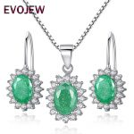 100% 925 Sterling Silver Dazzling Green Rhinestone Floral Crystal Hoop Earrings & Pendant <b>Necklace</b> for Women Wedding <b>Jewelry</b> Set