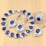 925 Sterling Silver Bridal <b>Jewelry</b> Sets Blue Zircon White CZ Docoration For Women Earrings Pendant Rings Bracelet <b>Necklace</b> Set