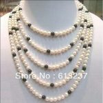 "Fashion natural stone sea white black akoya pearl diy charms necklace <b>making</b> 100"" MY5175"