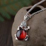 FNJ 925 Silver Frog Pendant New Fashion Red Black Stone Pure S925 Original Thai Silver Pendants for Women Men <b>Jewelry</b> <b>Making</b>