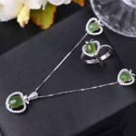 Natural green jasper jewelry sets natural gemstone ring <b>Earrings</b> Pendant 925 <b>silver</b> Stylish Elegant Heart women party jewelry