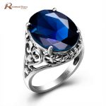 Fashion Big Stone Rings for Women Vintage Style Princess Cut Lab Sapphire Rings 925 Sterling <b>Silver</b> <b>Jewelry</b> Valentines Day Gifts