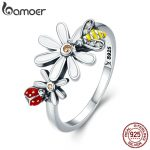 BAMOER Genuine 100% 925 Sterling Silver Bee and Ladybug in Flower Garden Finger Rings for Women Sterling Silver <b>Jewelry</b> SCR311