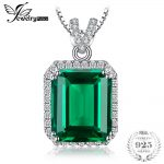JewelryPalace Luxury 5.5ct Created Green Nano Russian Emeralds Halo Pendant <b>Necklace</b> 925 Sterling <b>Silver</b> 45cm Fashion Jewelry