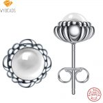 WYBEADS 925 Sterling Silver Rock Crystal April Birthday Blooms Stud Earrings For Women Fashion Earring Original <b>Jewelry</b> <b>Making</b>