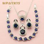 WPAITKYS Round Dark Blue Stone <b>Silver</b> Color Jewelry Sets For Women Wedding Earring Pendant Necklace Ring <b>Bracelet</b> Free Gift Box