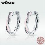 WOSTU Authentic 100% 925 Sterling Silver Pink & Clear CZ Twist Of Fate Hoop Earrings for Women <b>Fashion</b> Earrings <b>Jewelry</b> BKE297