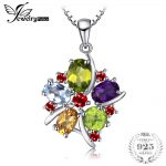 JewelryPalace Flower 3.1ct Natural Amethyst Garnet Peridot Citrine Blue Topaz Pendant <b>Necklace</b> 925 Sterling <b>Silver</b> 45cm Chain