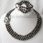 Women's Wedding charm Jew.656 3strands 8-9mm black FW pearl necklace bracelet set real silver mujer fine quality