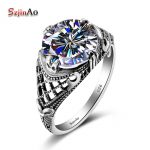 Szjinao Fashion 5A Zircon Female Wedding Finger Flower Rings Luxury Pure <b>Handmade</b> 925 Sterling Silver Women Engagement <b>Jewelry</b>