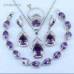 L&B Best Wedding Present Purple Crystal White Zircon <b>Jewelry</b> Sets 925 logo Silver Color Women Bracelet/Earrings/Necklace/Ring