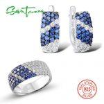 SANTUZZA Jewelry Set For Women Blue White Cubic Zirconia Stone Ring <b>Earrings</b> Set Pure 925 Sterling <b>Silver</b> Fashion Jewelry Set