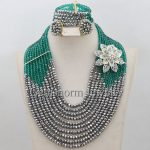 New Teal Green <b>Silver</b> African Beads Jewelry Set 10 Layers Nigerian Bead Necklace Sets 2017 Free Shipping WA117