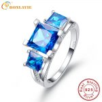 2.5 Ct Emerald Cut Natural Ocean Blue Topaz Square Engagement Wedding Ring Solid 925 Sterling <b>Silver</b> <b>Jewelry</b> Women with box