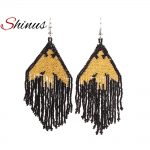 Shinus Gold Black Eagle Earrings MIYUKI Seed Beads <b>Native</b> <b>American</b> Long Earrings Women <b>Jewelry</b> Inspired Large Earrings Beadwork
